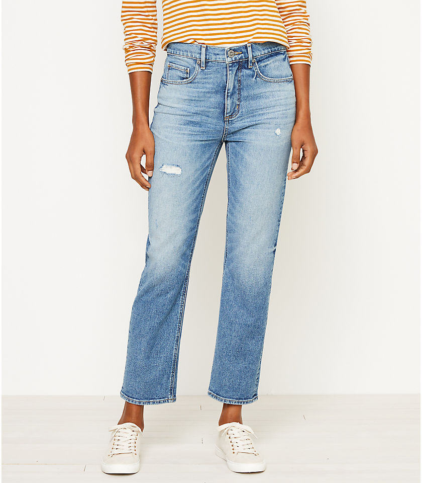 로프트 LOFT High Rise Straight Crop Jeans in Authentic Mid Indigo Wash