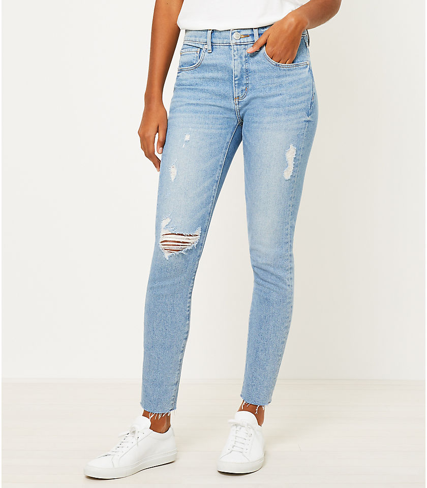 로프트 LOFT Skinny Jeans in Vivid Light Indigo Wash