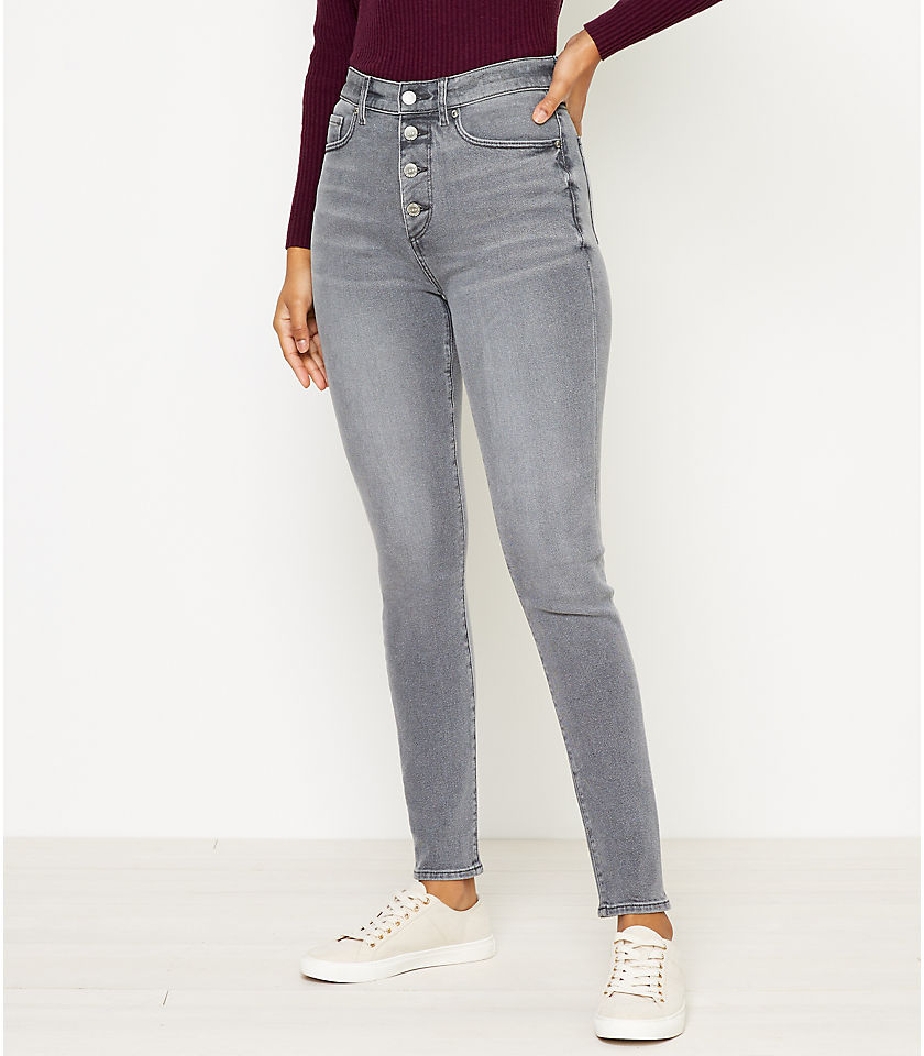 로프트 LOFT High Rise Skinny Jeans in Silver Grey Wash