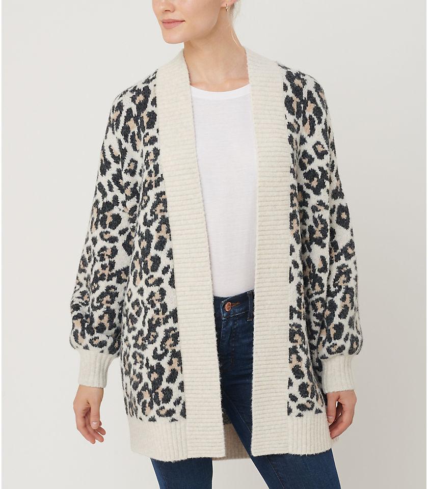 로프트 LOFT Leopard Print Open Cardigan,Black Neutral Multi