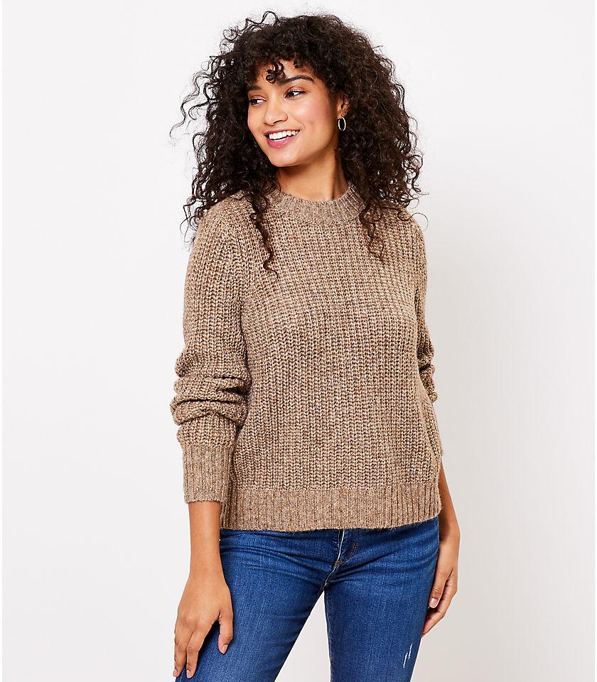 로프트 LOFT Shimmer Crew Neck Sweater,Metallic Gold