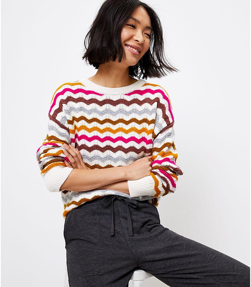 로프트 LOFT Lou & Grey Zig Zag Sweater,Ivory Multi