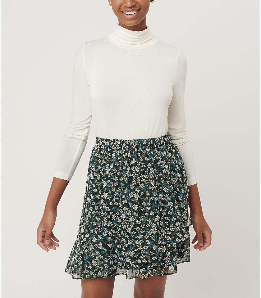 로프트 LOFT Floral Ruffle Pull On Skirt,Deep Bottle Green