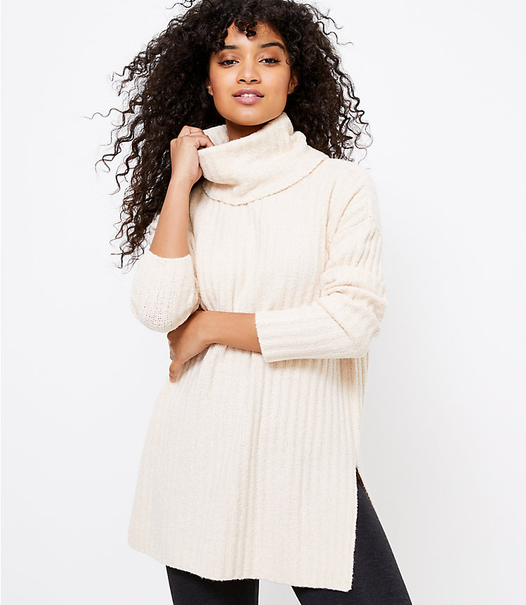 Lou & Grey Ribbed Turtleneck Tunic Sweater