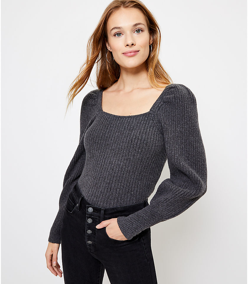 로프트 LOFT Square Neck Sweater,Heather Silver Lake Grey
