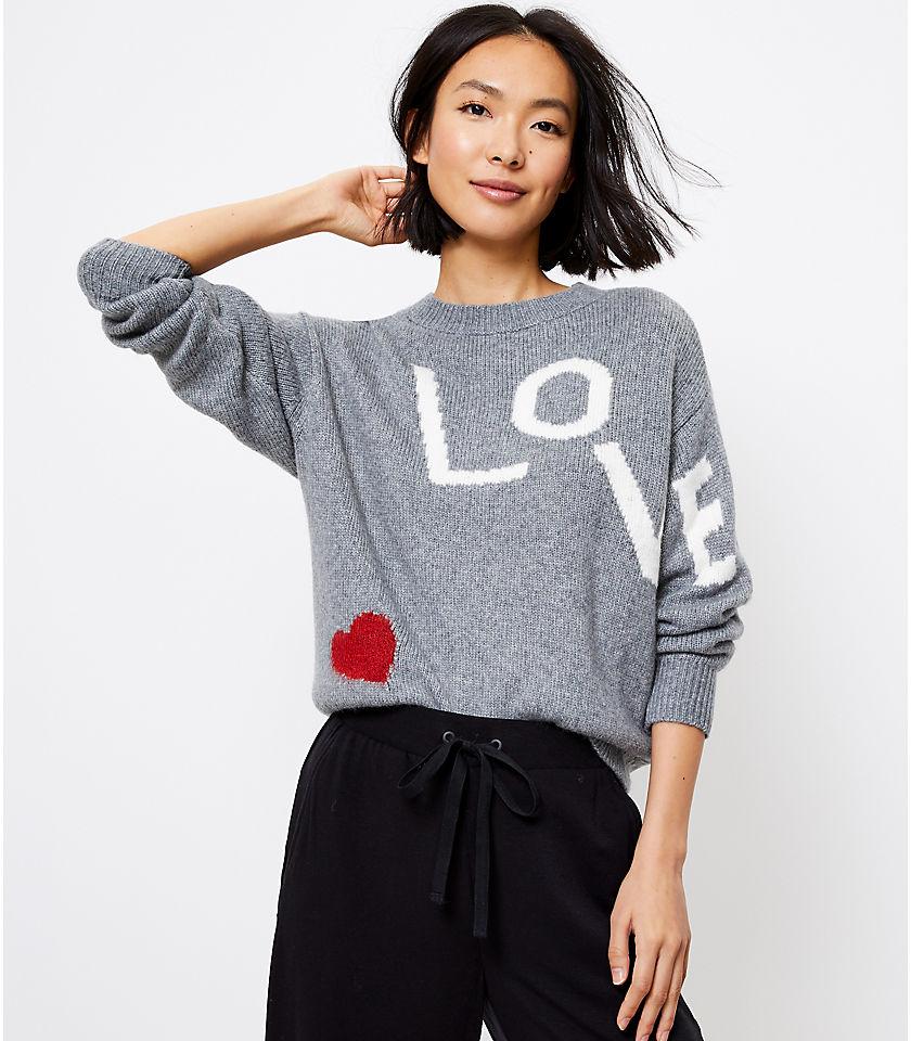 로프트 LOFT Lou & Grey Love Sweater,Ivory Multi