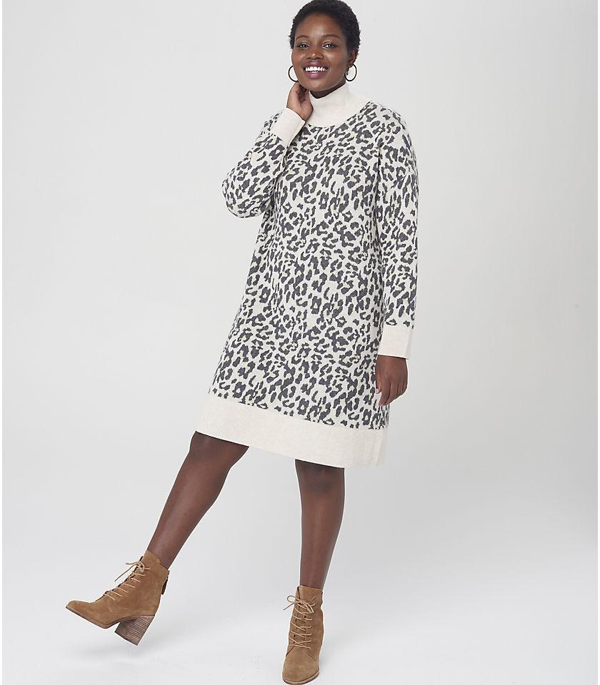 로프트 LOFT Leopard Jacquard Turtleneck Dress,Black Neutral Multi