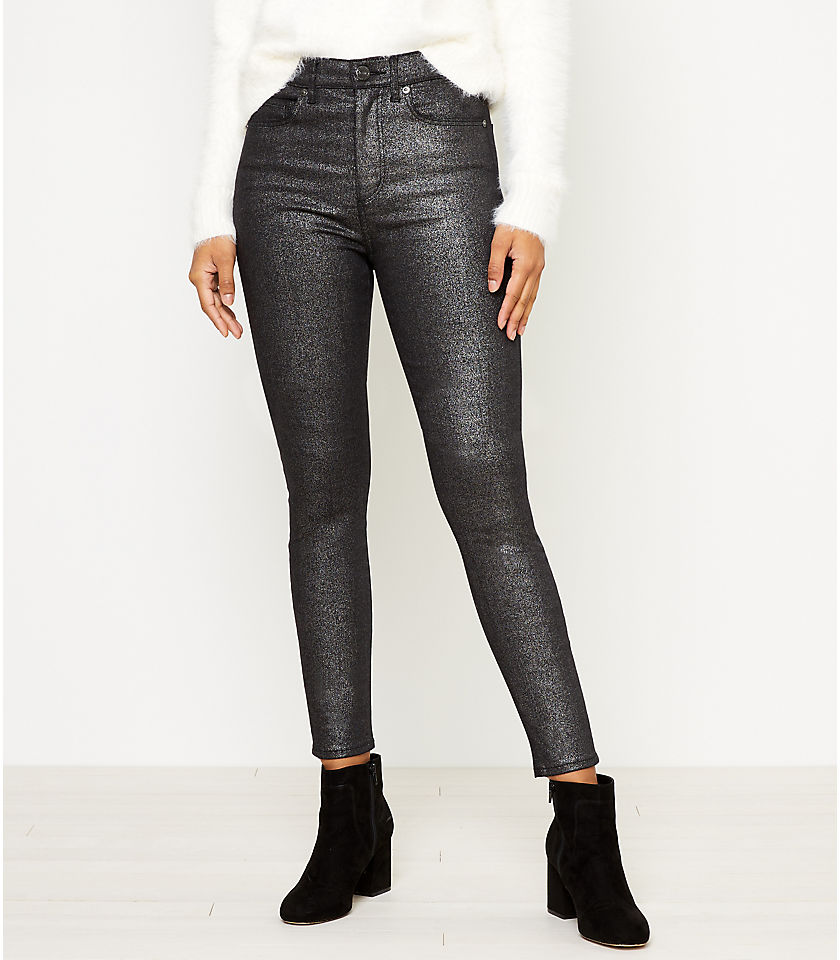 로프트 LOFT High Rise Skinny Jeans in Black Shimmer