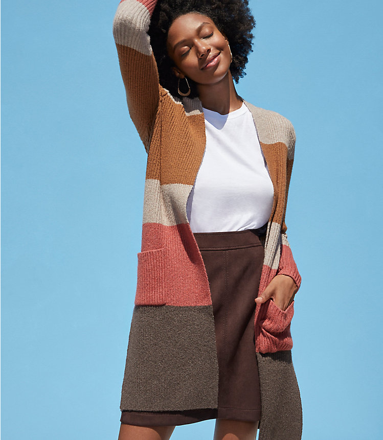 Colorblock Ribbed Pocket Open Cardigan