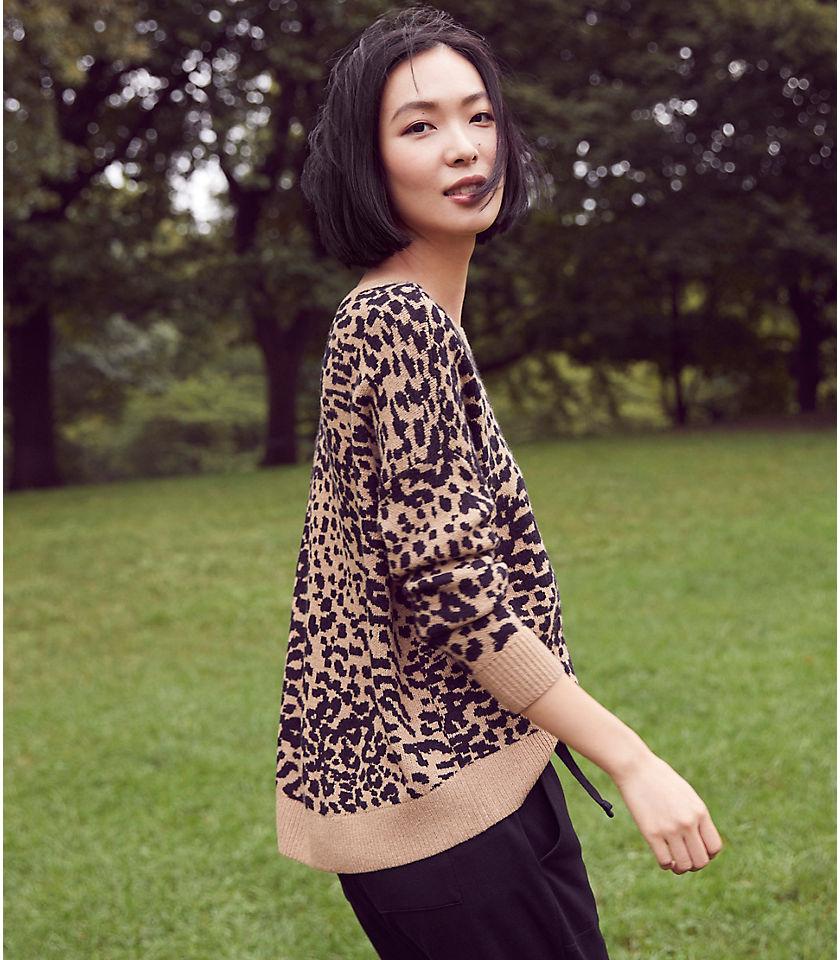 로프트 LOFT Leopard Print Drop Shoulder Sweater,Black