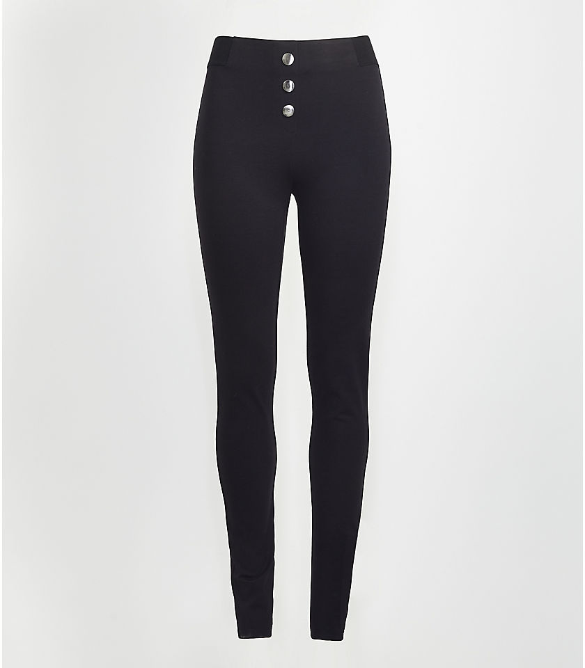 로프트 LOFT Button Leggings,Black