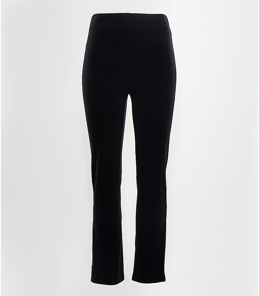 로프트 LOFT Velvet Kick Crop Leggings,Black