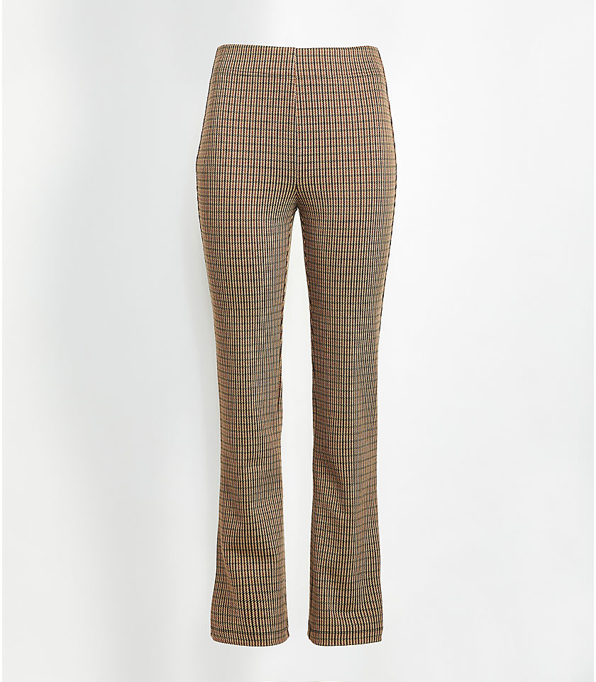 로프트 LOFT Checked Kick Crop Leggings,Saddle Brown Multi