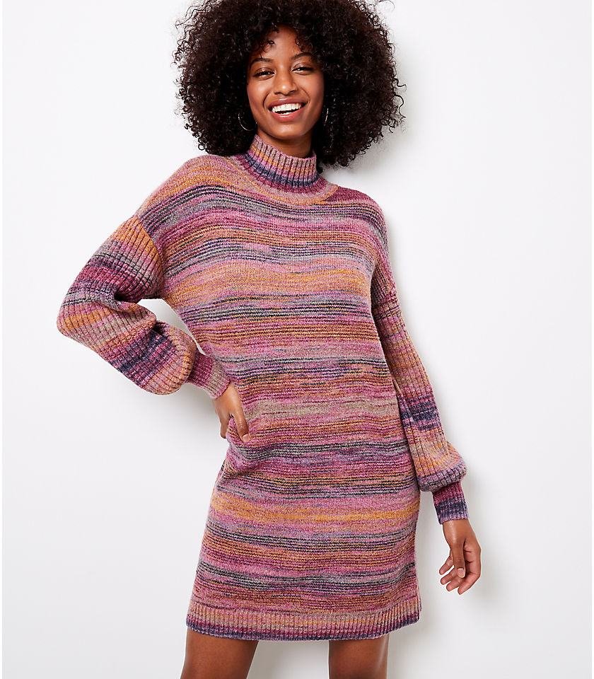 로프트 LOFT Spacedye Turtleneck Sweater Dress,Boysenberry Spacedye