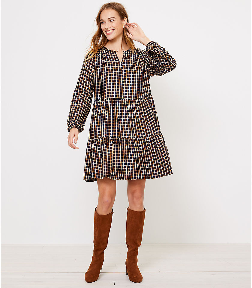 로프트 LOFT Plaid Puff Sleeve Swing Dress,Forever Navy