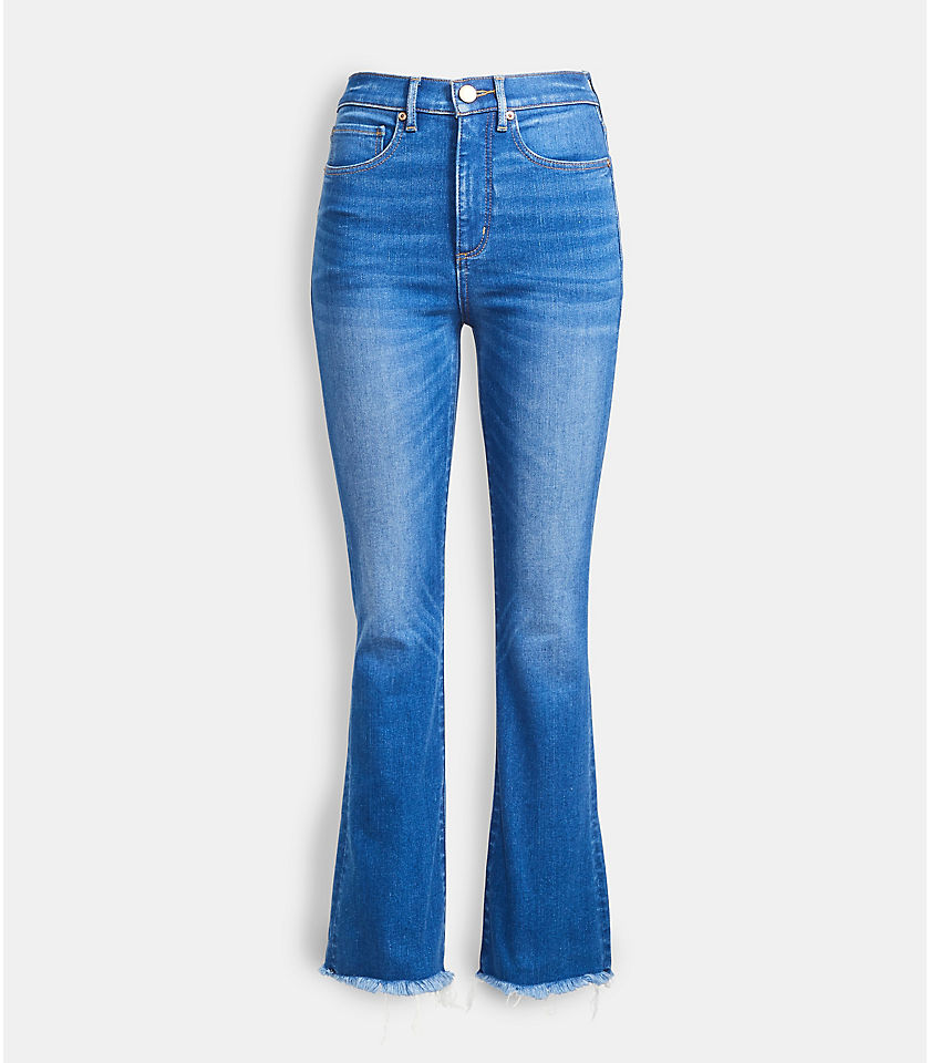 로프트 LOFT Back Slit Flare Crop Jeans in Authentic Mid Indigo Wash
