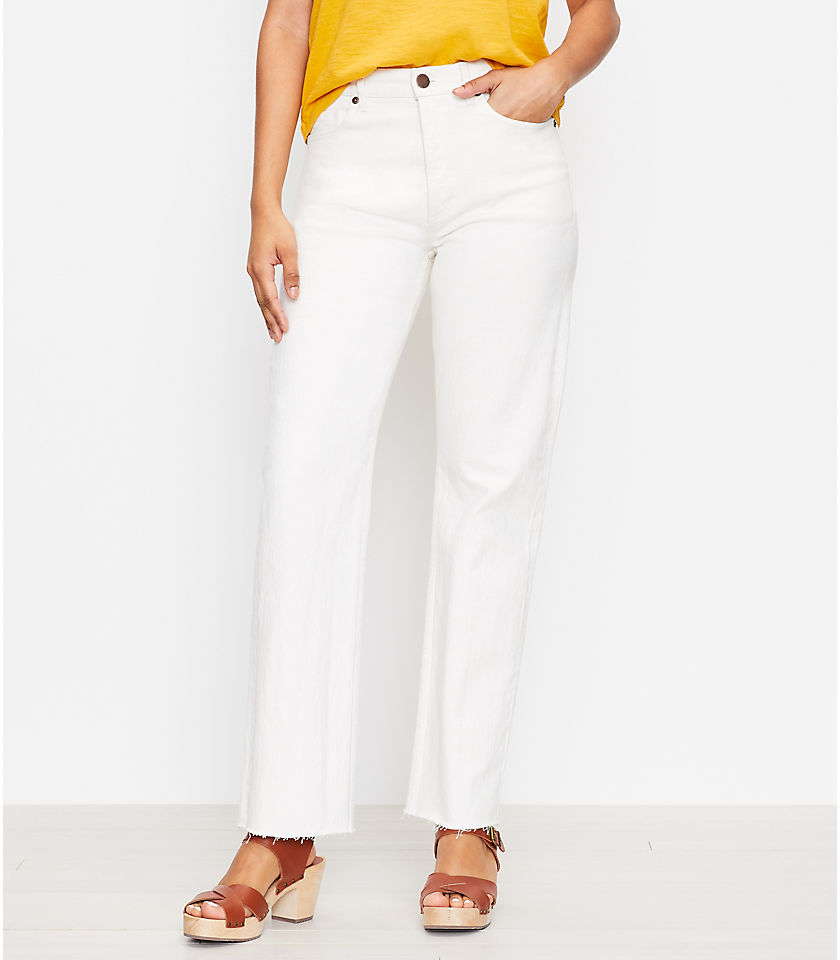 로프트 LOFT Relaxed Straight Leg Jeans in White