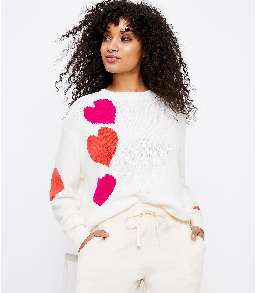 로프트 LOFT Lou & Grey Heart Sweater,Whisper White