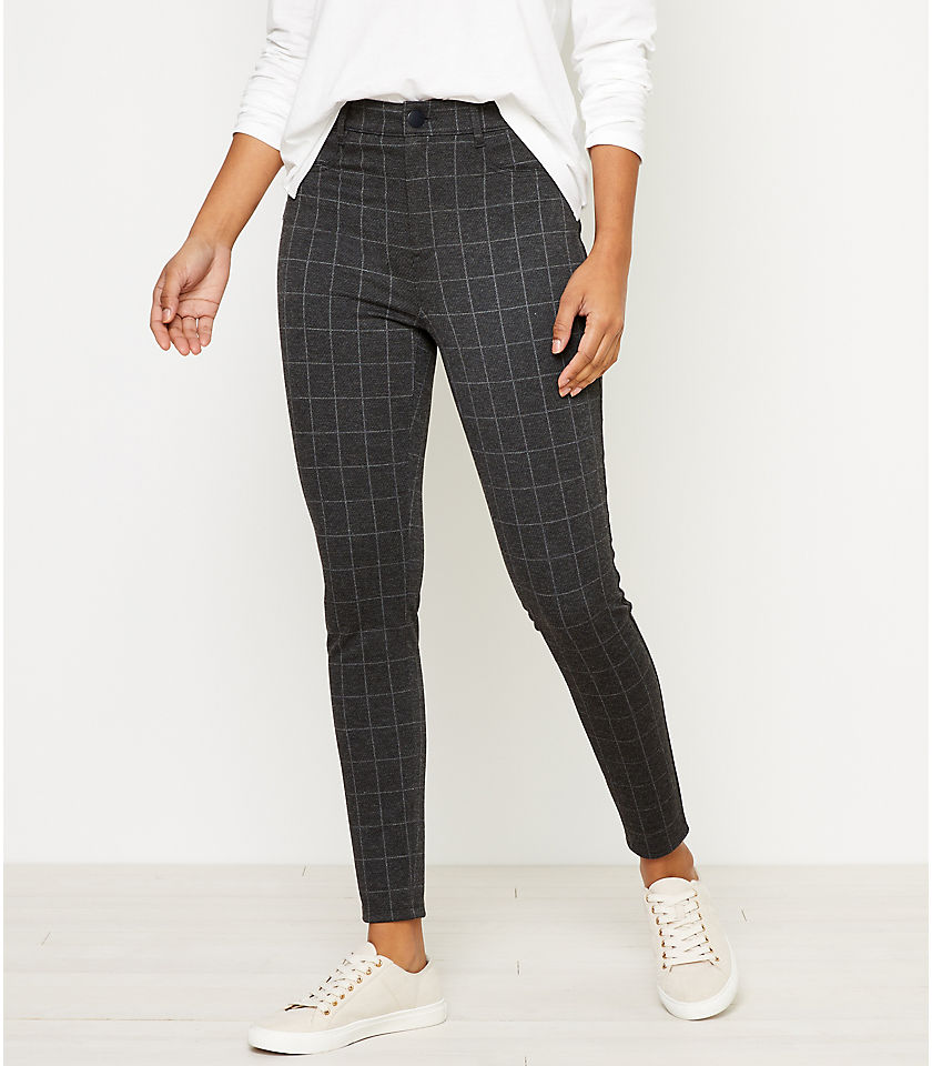 로프트 LOFT Windowpane Five Pocket Leggings,Silver Grey Melange
