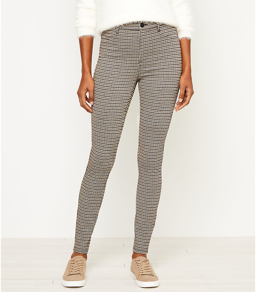 로프트 LOFT Houndstooth Five Pocket Leggings,Black Neutral Multi