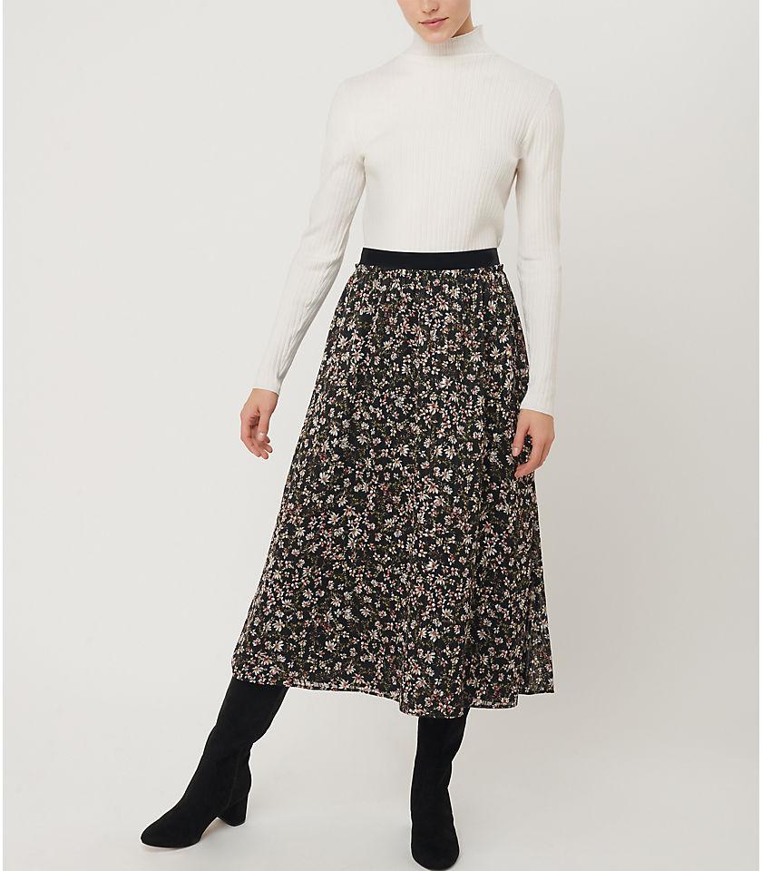 로프트 LOFT Floral Pleated Pull On Midi Skirt,Black
