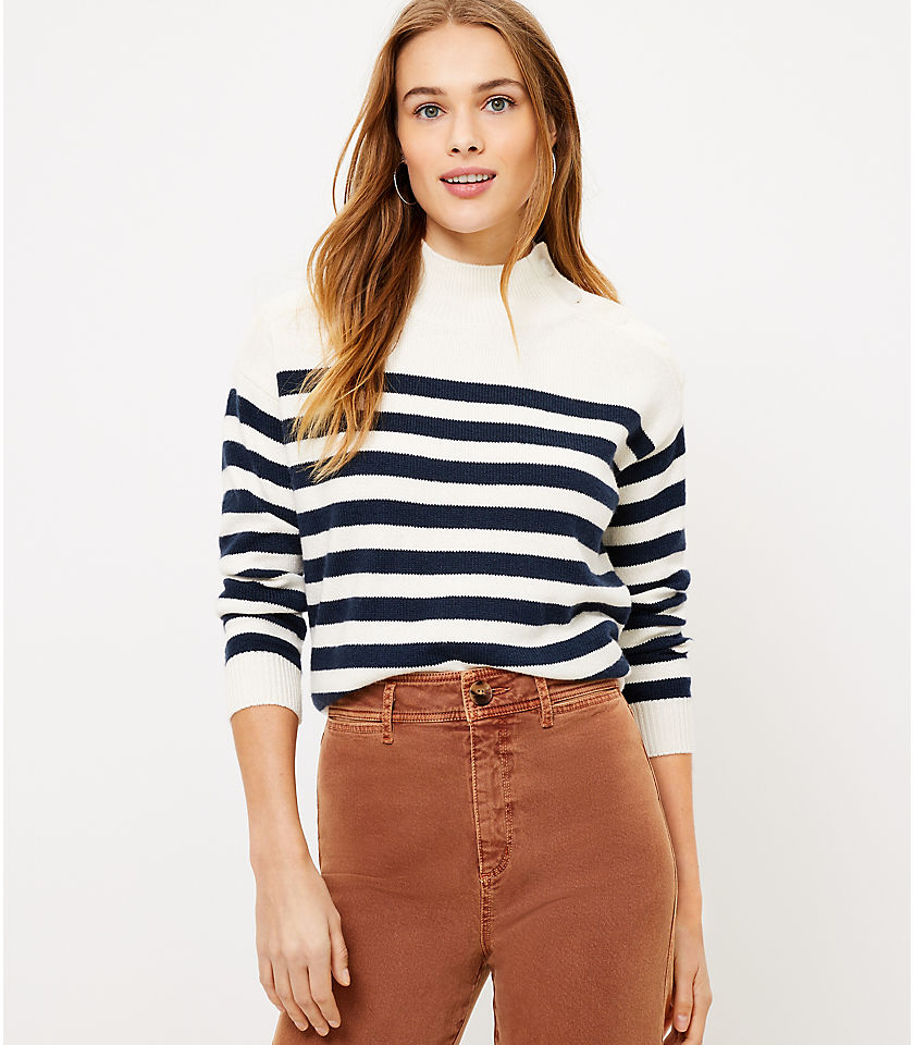 로프트 LOFT Striped Shoulder Button Sweater,Popcorn