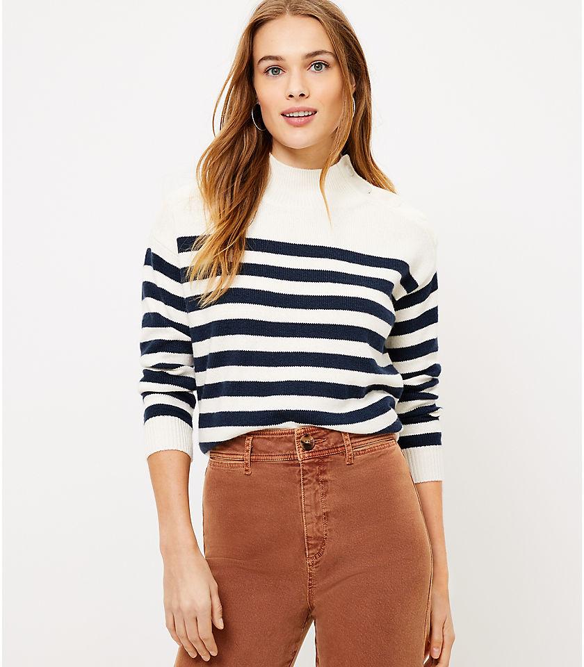 로프트 LOFT Striped Shoulder Button Sweater,Popcorn