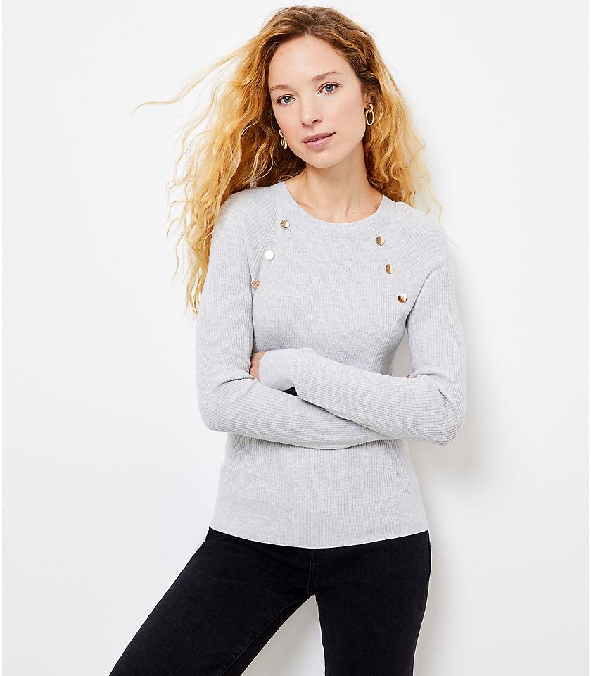 로프트 LOFT Button Trim Sweater