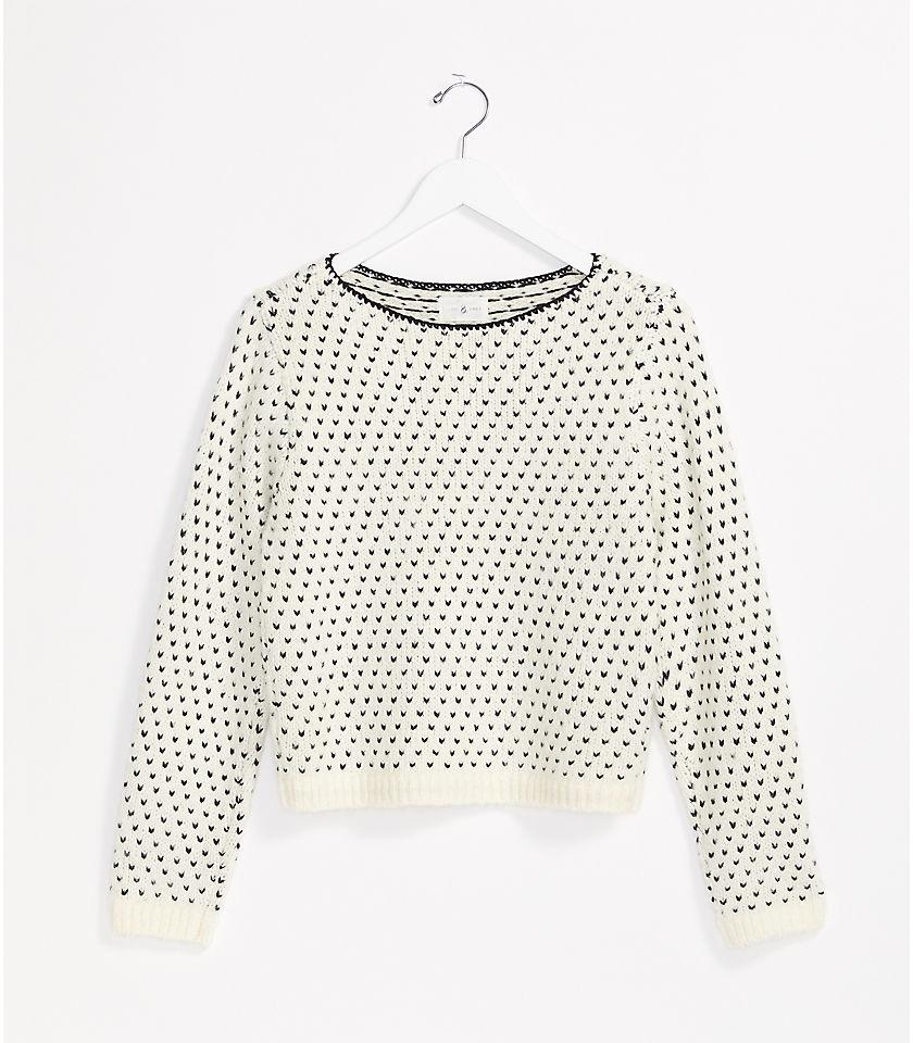 로프트 LOFT Lou & Grey Stitchy Sweater,Vanilla Creme