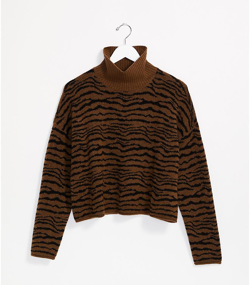 로프트 LOFT Lou & Grey Tiger Turtleneck Sweater,Saddle Brown Multi