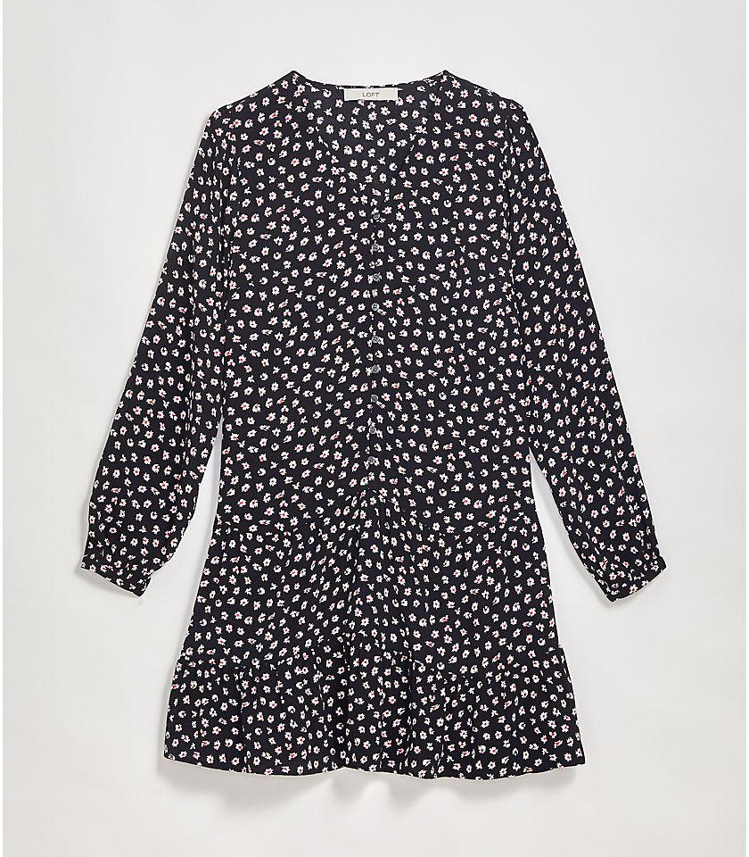 로프트 LOFT Leafed Button Swing Dress,Black