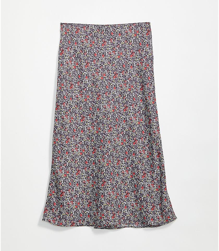 로프트 LOFT Floral Pull On Midi Skirt,Phantom Grey