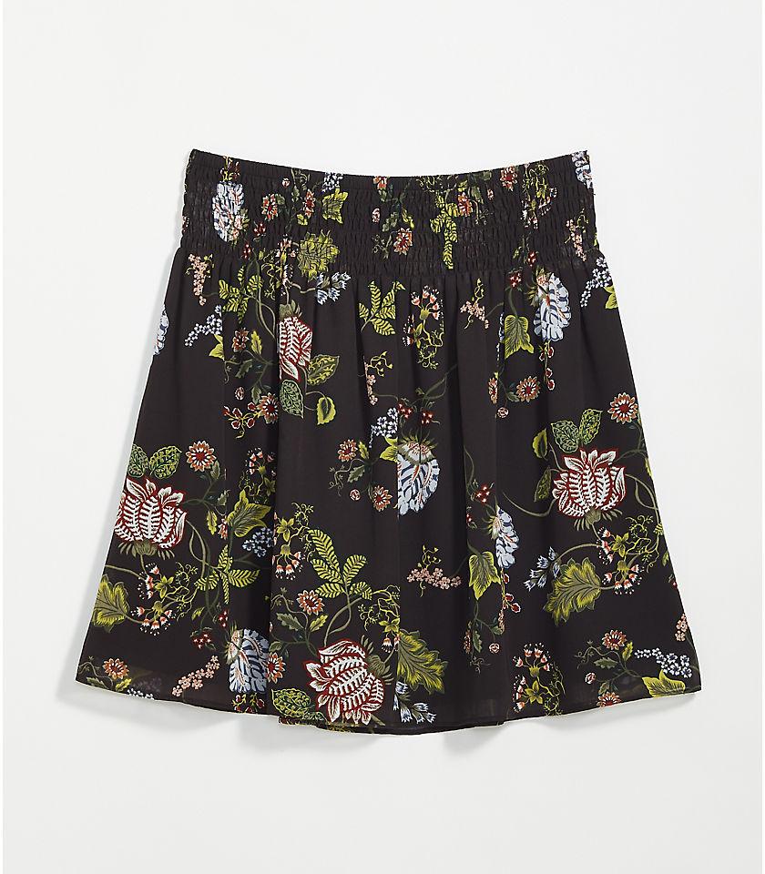 로프트 LOFT Floral Smocked Waist Skirt,Coal Grey