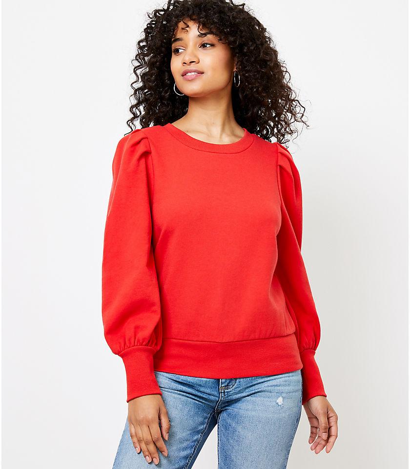 로프트 LOFT Puff Sleeve Sweatshirt,Fearless Red