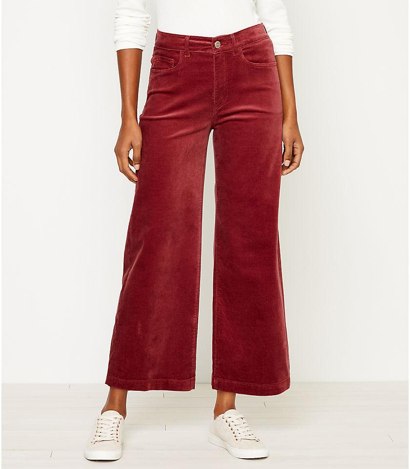 로프트 LOFT High Rise Velvet Wide Leg Crop Jeans in Washed Blackberry,Light Wine