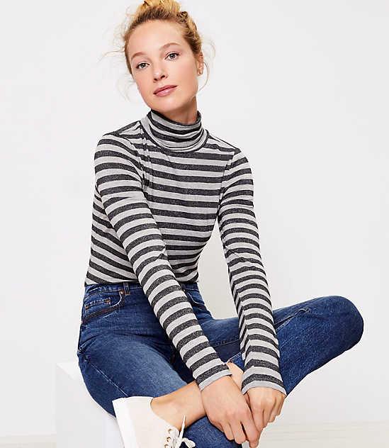 Striped Ribbed Turtleneck Top