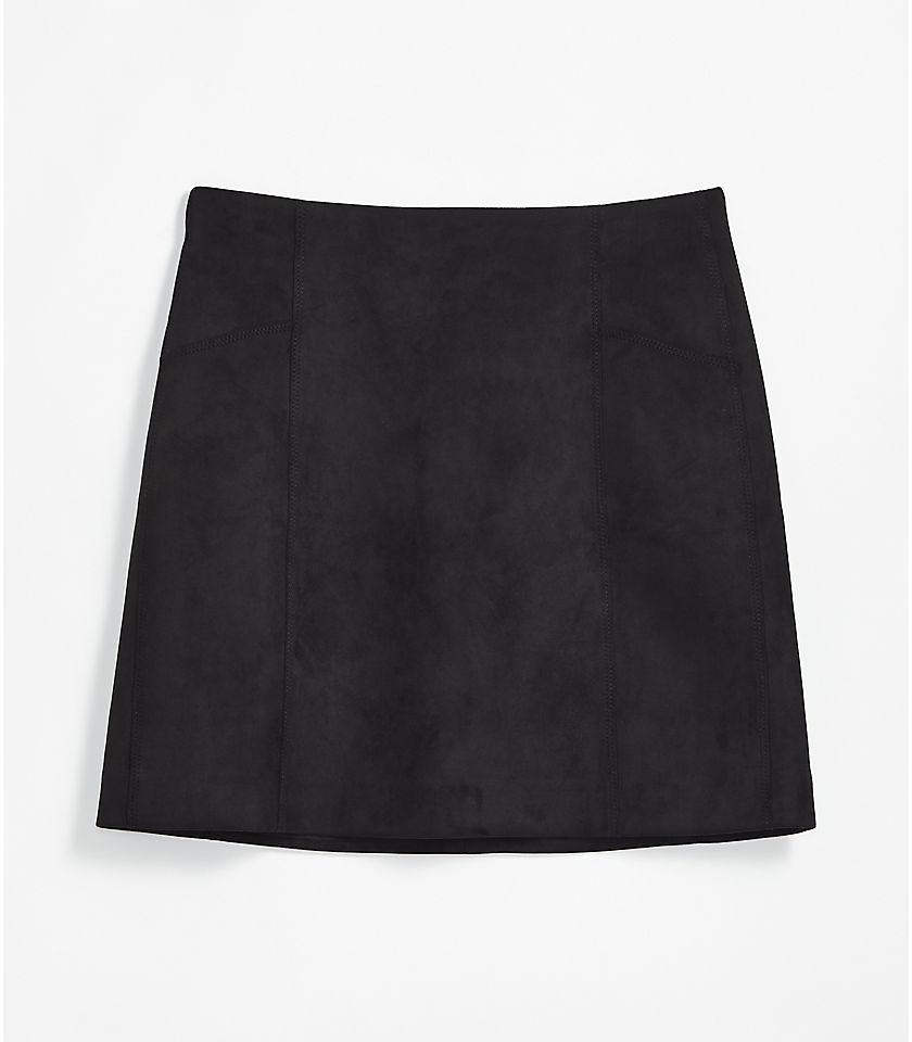 로프트 LOFT Faux Suede Shift Skirt,Black