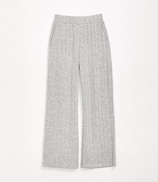 A cozy ribbed and brushed finish meets a buttery marled jersey for a fresh essential - with the perfect hint of bounce. Elasticized waist. Loft Lou & Grey Ribbed Brushmarl Wide Leg Pants