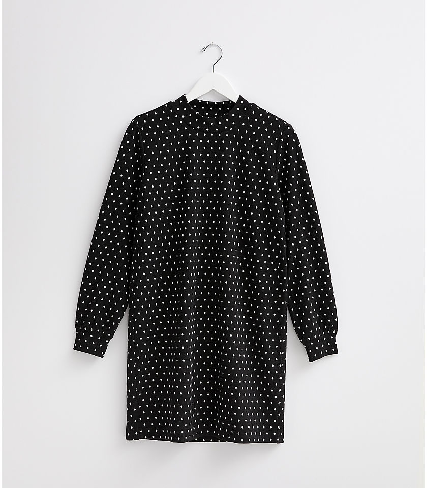 로프트 LOFT Lou & Grey Dotted Ponte Turtleneck Dress,Black