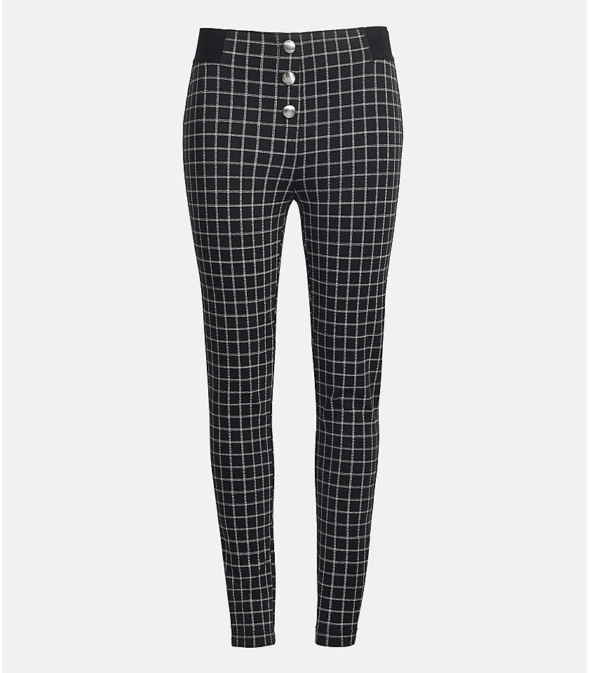 로프트 LOFT Plaid Button Leggings,Black