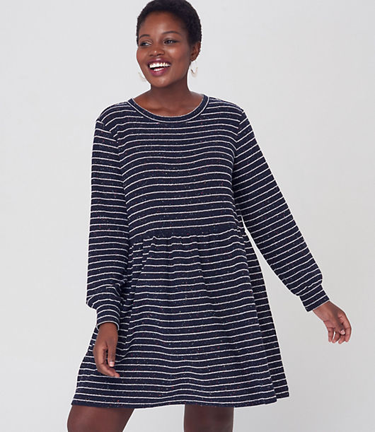 We\\\'re sweet on this swingy dress, a femme and flowy style with a clever buttoned back. Crew neck. Long sleeves with button cuffs. Loft LOFT Plus Striped Button Back Swing Dress