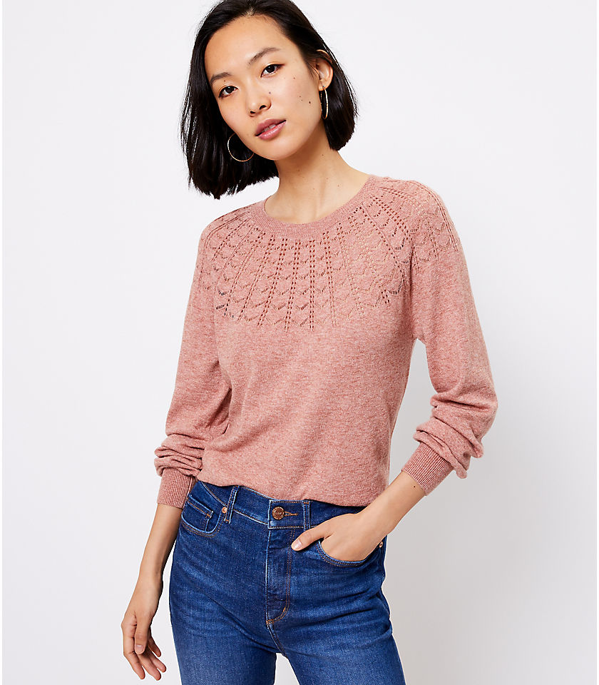 로프트 LOFT Pointelle Yoke Sweater,Pink Coral Melange