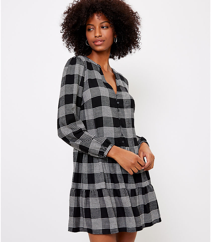 로프트 LOFT Plaid Puff Sleeve Swing Dress,Black