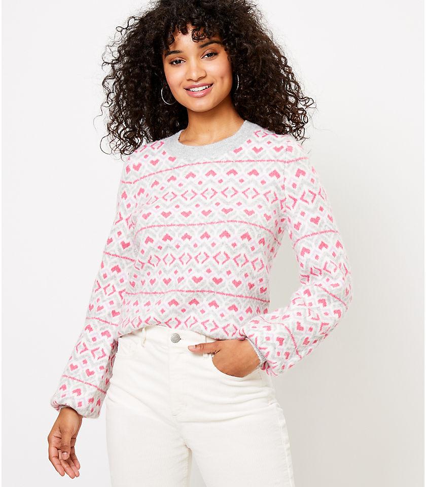로프트 LOFT Heart Sweater,Pink Multi