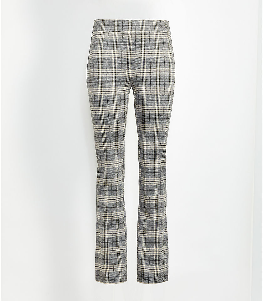 로프트 LOFT Plaid Kick Crop Leggings,Olive Melange