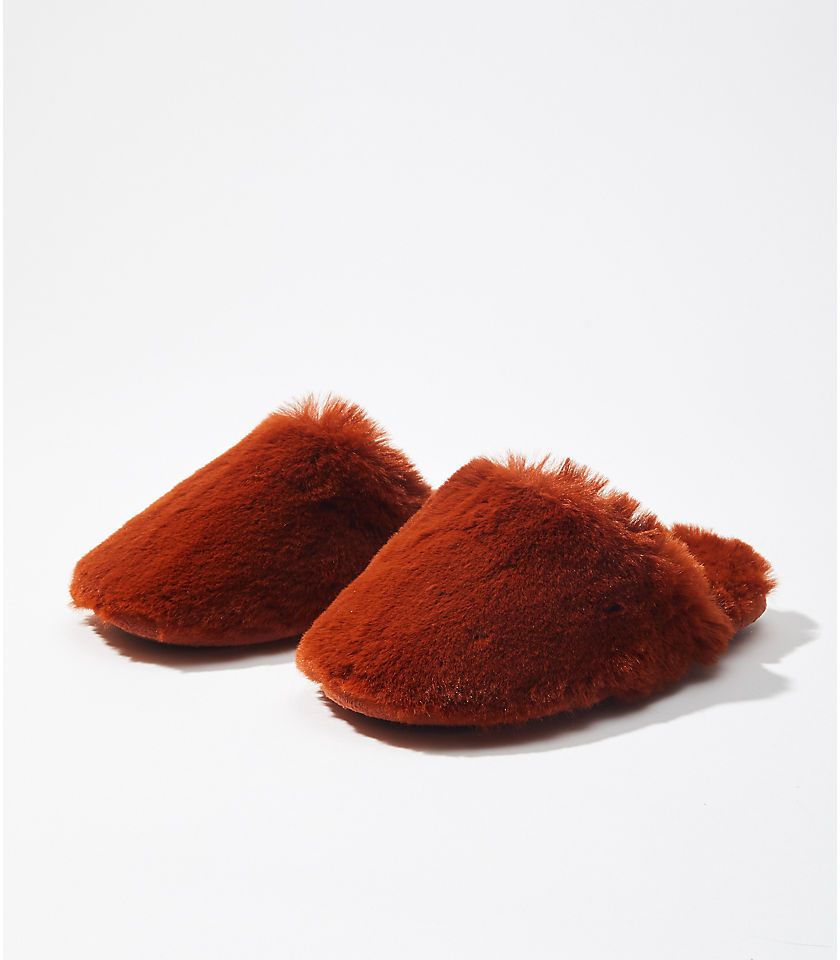 로프트 LOFT Faux Fur Slippers,Rich Pecan