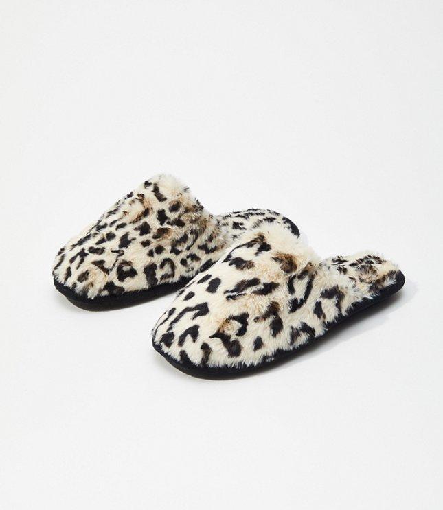 Leopard Print Faux Fur Slippers | LOFT