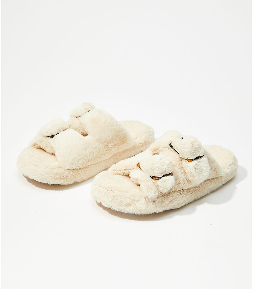 로프트 LOFT Faux Fur Buckle Slippers
