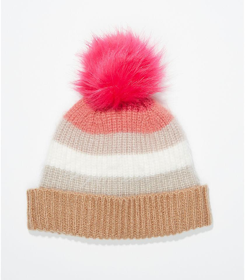 로프트 LOFT Ombre Pom Pom Hat,Dahlia Pink