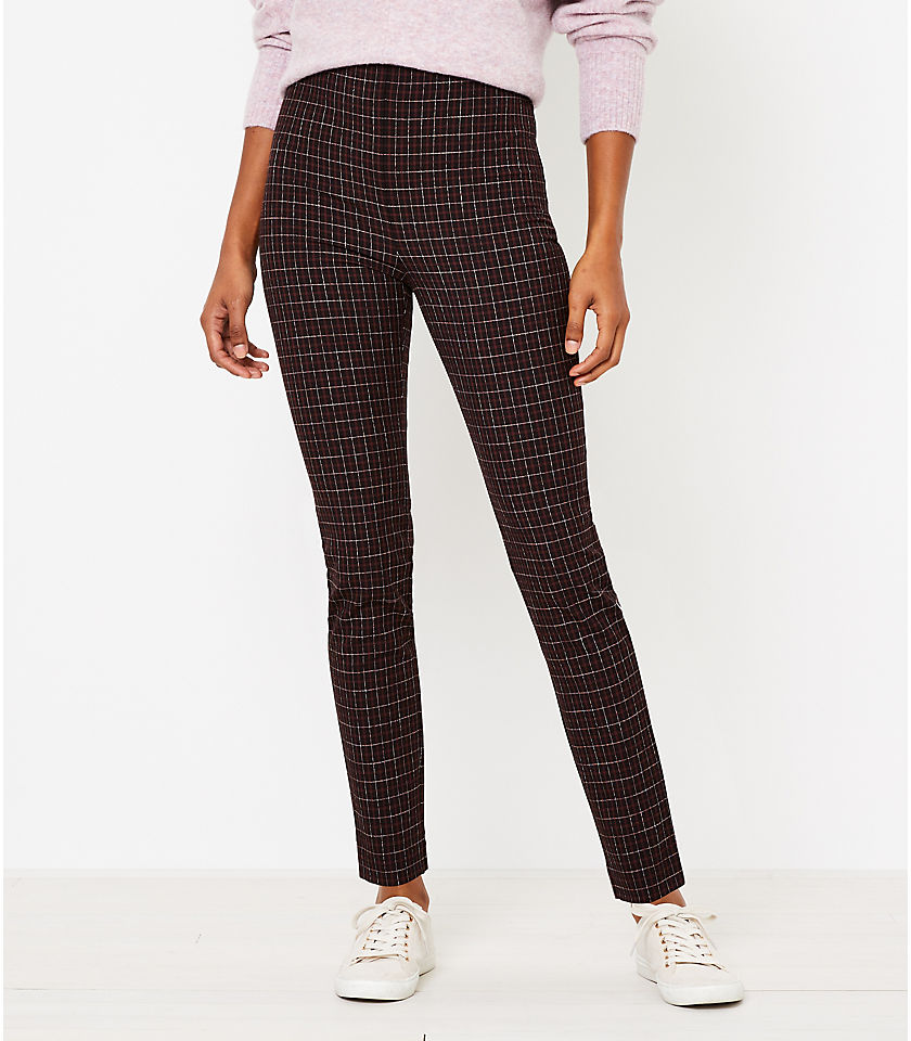 로프트 LOFT Side Zip High Waist Skinny Leggings in Plaid,Black Multi